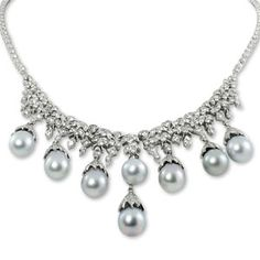 Necklaces - Extravagant pearl & diamond necklace in 18k white gold : Gray & Sons is a Used and Preowned Watch, Jewelry & Watchwinder Dealer - Pre-owned Watches a Specialty :  diamonds necklace south sea pearls estate jewelry