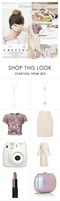 """""""WIN $65 worth of Sincerely Silver Jewelry"""" by mars ❤ liked on Polyvore featuring Needle & Thread, Yummie by Heather Thomson, Fujifilm, MaxMara, NARS Cosmetics, Jeffrey Levinson and Sergio Rossi"""