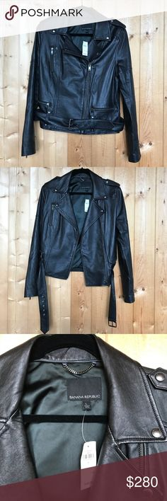 NWT Banana Republic Leather Moto Jacket Amazing, buttery soft leather!! This coat is gorgeous and brand new with tags! Banana Republic Jackets & Coats