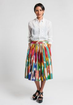 Etro Cotton Ikat Printed Skirt in Multi Color