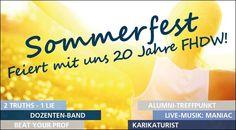 Am 5.Juli 2013 findet an der FHDW (Fachhochschule der Wirtschaft) Nordrhein-Westfalen am Stammsitz in Paderborn das Sommerfest statt: 20 Jahre Jubiläum sind zu feiern!