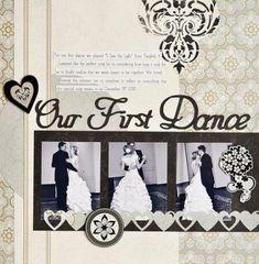 Our First Dance Divine Wedding Planning Addition Scrapbook Layout - Hochzeit Wedding Scrapbook Pages, Love Scrapbook, Recipe Scrapbook, Scrapbook Page Layouts, Scrapbook Albums, Scrapbook Cards, Wedding Book, Wedding Cards, Wedding Albums