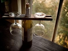tabletop wine glass holder, built from solid wood.@st