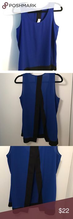 NWT royal blue and black open back top Super cute top, open in back until about mid back you are still able to wear a bra 😊 Express Tops