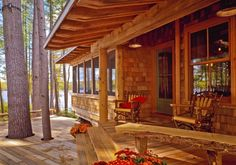 This refined yet rustic lakeside camp seamlessly blends into its wooded surroundings and provides year-round living.