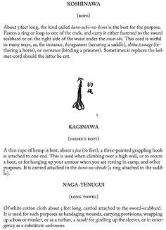 Koshinawa (rope), kaginawa (hooked rope), Naga-tenugui (long towel), page 36.