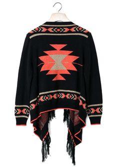 Aztec Fringe Fairisle Cape in Black - New Arrivals - Retro, Indie and Unique Fashion