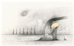 The Eight Eggs, by Shaun Tan. From the book, The Bird King. Graphite and coloured pencil. [Love: the energy of the colored pencil and the dotted spires on the crown]