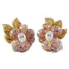 1stdibs.com | GRAFF Natural Pink, Yellow & White Diamond Earrings