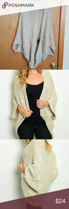 Cardigan sweater Poncho style beige  Acrylic, direct from distributor without store tags Design by MS Tops