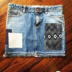 Gap Aztec Remixed Patchwork Denim Skirt in size 10 by Rhapsody Reinventions- upcycled women's jean skirt Hawaii Style, California Style, Jean Skirt, Denim Skirt, Boho Chic, Bohemian, Patched Jeans, Denim Patchwork, Cute Jeans