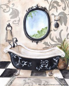 BlackDamask_Bath ... This would be oh so cute on  my powder room tiles.