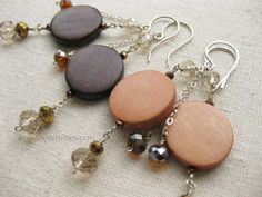 Dark brown or Light natural wood coin beads Crystals sterling silver earrings Beaded wood jewelry|Summer Boho silver|Natural wood jewelry - pinned by pin4etsy.com