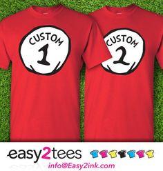 1-shirt Customize Name Custom Title Dr. Seuss Thing 1 Thing