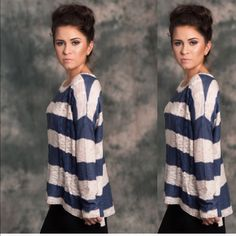 Cream and Navy Striped Sweater Amazing sweater cream and navy stripes.  Loose fitting. Worn with our cream and navy camisole. Lewboutiquetwo Sweaters