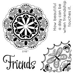 "Close to My Heart My Acrylix Stamp Set Beautiful Friendship  Set of 4  Recommended My Acrylix® Blocks:  2"" × 2"" (Y1003), 3"" × 3"" (Y1006)    Stamp images outlined in red coordinate with the Cricut® Art Philosophy collection (Z1686).    $9.95"