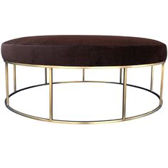 Stunning Custom Designed Round Ottoman With Brass Base | From a unique collection of antique and modern ottomans and poufs at https://www.1stdibs.com/furniture/seating/ottomans-poufs/