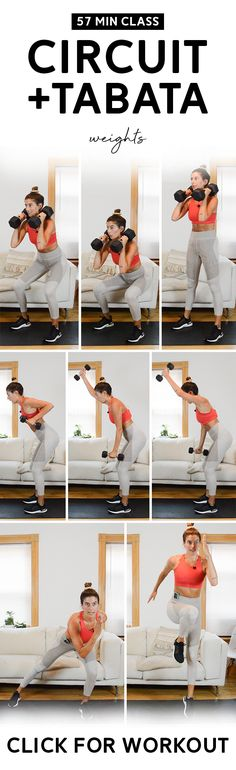 Circuit + Tabata Workout Class (57 Mins) - Weights | This is a total body class consisting of strength circuits and quick bodyweight hiit intervals. #workoutclass #fitness #homeworkout Hiit Interval, Tabata Workouts, At Home Workouts, Tabata Intervals, Tabata Class, Workout Classes, Burpee Challenge, Strength Workout, Strength Training