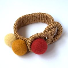 Golden brown copper yellow bracelet -crochet and felted wool