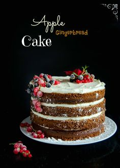 Apple Gingerbread Cake - This apple gingerbread cake is spiced, moist and fragrant and it tastes heavenly topped with this Swiss meringue cream cheese buttercream.