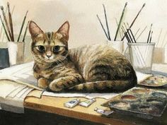 Great cat paintings by Celia Pike -  Celia Pike is an English artist. Her main subjects of paintings are mostly cats, interiors and landscapes. Really good!  Read more at http://izismile.com/2009/05/29/great_cat_paintings_by_celia_pike.html#3fHAUYQMTvjhw7hK.99