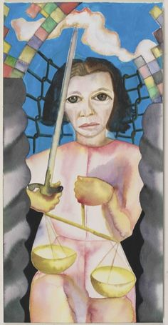 """Fran Lebowitz as Justice, Watercolor on Paper, from a Series of 78 Watercolor Portrait Tarot Cards created by Clemente. Read more in """"Francesco Clemente Creates Hauntingly Deft Tarot Cards"""" by Joseph K. Levene in The Fine Art Blog"""