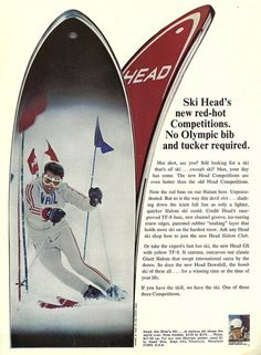 Head Skis, Ski Racing, Ski Equipment, Alpine Skiing, Vintage Ski, Back In The Day, Advertising, Memories, History
