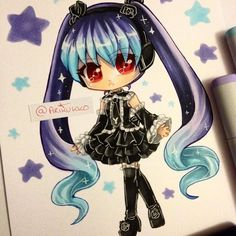 Chibi fanart of Miku in her Inifinity design! Which is your favourite Miku?