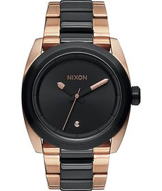 Update your outfits with a stylish black and rose gold stainless steel case with a real diamond set at 6 O'clock and a 100 meter water resistance for durability.