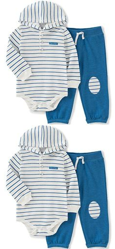 Calvin Klein Baby Boys' Striped Hooded Bodysuit with Pants Set, Blue, 3-6 Months