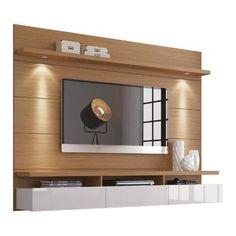 Home Painel Suspenso Para TV de 60 Polegadas, Luminaria de Led, Tampo e Prateleira Superior de 40 mm de Espessura - Natural - Off White | CasasBahia.com.br