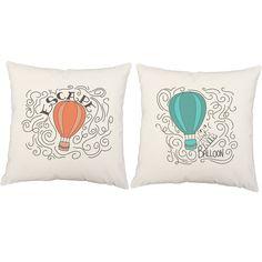 Hot Air Balloon Escape Throw Pillows - Set of 2