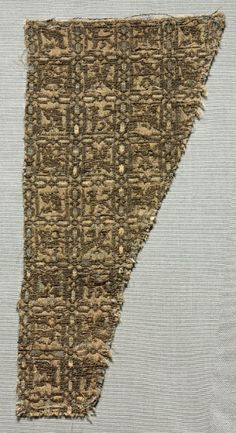 Silk Fragment, late 1200s - 1300s  Iran or Iraq, late 13th - 14th century  lampas weave with areas of compound tabby, silk and metallic thread, Overall - h:23.20 w:10.70 cm (h:9 1/8 w:4 3/16 inches).