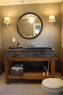 concrete/soapstone and wood. make it into a double sink.