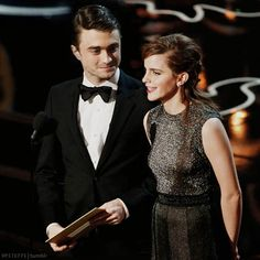 Emma Watson (86th Annual Academy Awards) + Daniel Radcliffe (85th Annual Academy Awards). That's some good Photoshop. If they ever presented an award together I think the HP fandom would explode.