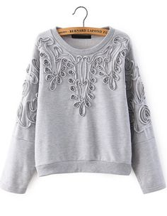 To find out about the Grey Long Sleeve Disk Flowers Sweatshirt at SHEIN, part of our latest Sweatshirts ready to shop online today! Look Fashion, Diy Fashion, Womens Fashion, Fashion Design, Diy Mode, Do It Yourself Fashion, Shirt Embroidery, Sweat Shirt, Refashion
