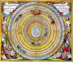 Astronomie - Histoire - L'univers géocentrique de Ptolémée: la Terre est au centre de l'univers tandis que la Lune, le Soleil et les cinq étoiles errantes tournent autour d'elle. Les étoiles du firmament sont fixées sur une sphère au-delà de l'orbite de Saturne.