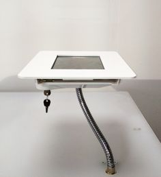 http://www.imageholders.com/products/ihold-flexineck-counter-mounted-tablet-enclosure  Truly flexible and lockable iHOLD Tablet Enclosure by imageHOLDERS