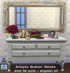 The Sims 4 | Orangemittens' EP02 Get Together Antiqued Remnant Dresser with 94 Slots | buy mode override