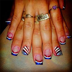 patriotic nails — 15 Fourth Of July Acrylic Nail Art Styles, Concepts, Trends & Stickers 2015 July 4th Nails Designs, Holiday Nail Designs, 4th Of July Nails, Holiday Nails, Acrylic Nail Art, Acrylic Nail Designs, Nail Polish Designs, Nail Art Designs, Fingernail Designs
