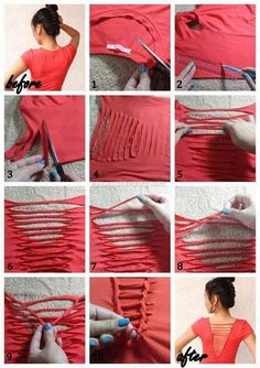 DIY Clothes Refashion: DIY T-Shirt Weaving diy t-shirt diy fashion diy refashion diy clothes diy ideas diy crafts diy shirt diy top Zerschnittene Shirts, Cut Up Shirts, Sewing Shirts, Diy Shirts No Sew, Cutting T Shirts, Band Shirts, Cut Workout Shirts, Sewing Clothes, Upcycle Shirts