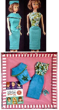 I had this outfit once as well.    Vintage Barbie Fashion Editor        Vintage Barbie Fashion Editor #1635 (1965)    Turquoise Dress with Floral Bodice  Turquoise Sleeveless Jacket  Turquoise Pillbox Hat   Turquoise Closed Toe Heel