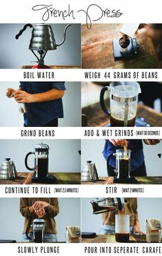 How to make perfect French Press Coffee - wet grinds wait 30 seconds fill carafe wait minutes stir wait 2 minutes then plunge and pour! Coffee Is Life, Coffee Type, I Love Coffee, Best Coffee, Coffee Shop, Coffee Maker, French Coffee, Coffee Barista, Coffee Coffee