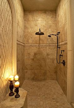 fabulous master shower. If the rest of the house was falling apart, this would be enough for me. Bathroom Shower Heads, Master Bathroom Shower, Bathroom Stand, Shower Tiles, Bathroom Fixtures, Dream Bathrooms, Beautiful Bathrooms, Custom Bathrooms, Shower Remodel