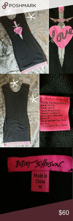 Betsey Johnson Sweater Dress Collector Piece SZ M Betsey Johnson size medium woman's bodycon sweater dress. Dress features cap sleeves, is stretchy, and has a heart and dagger front pattern. Excellent pre-owned condition. Fast shipping - same or next day.  Measurements  Armpit to armpit: 15.5 inches Length: 37 inches Betsey Johnson Dresses