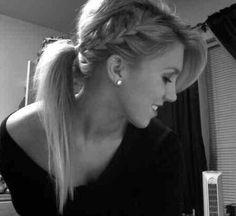 Bleach Blonde Hair. Side French Braid.