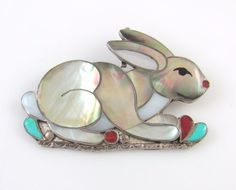 Zuni Sterling Silver Multi-Stone Inlay Rabbit Pin Pendant PORFILIO SHEYKA  | RS