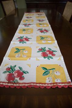 Table Runner Vintage Print Red Apples Cherries and Strawberries Yellow Table Runner Ask a Question on Etsy, $40.00