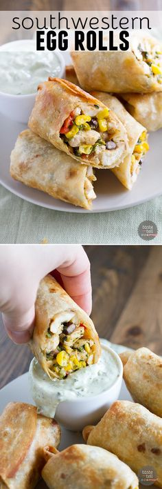 These Southwestern Egg Rolls with Avocado Ranch Dipping Sauce