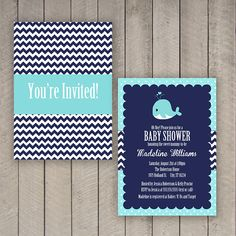 Whale Baby Shower Invitation Nautical Baby by WhitetailDesigns, $11.50